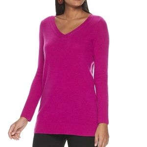 Apt 9 Fuschia Pink V Neck Cashmere Sweater